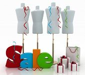 Sale for a clothing. 3D illustrations on a white background