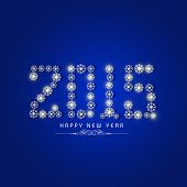 Happy New Year 2015 celebrations greeting card design with shiny stylish text on blue background.