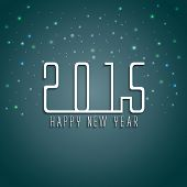 Happy New Year 2015 celebrations greeting card design on stars decorated grey background.
