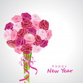 Happy New Year 2015 celebrations greeting card design with beautiful roses bouquet on grey background.