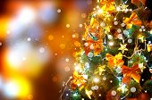 pic of blinking  - Christmas holiday blinking abstract background with decorated christmas tree - JPG