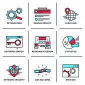 Search Engine Optimization Line Icons Set