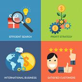 Set Of Flat Design Concept Icons For Business. Efficient Search, Profit Strategy, International Busi
