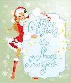 Blond Xmas Girl Wearing Santa Claus Suit Staying Behaind Frame With Handwritten Text Marry Christmas