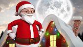 Cute cartoon santa claus against cute christmas village