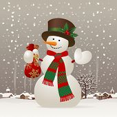Snowman with a red scarf and hat against the winter landscape. Christmas & New-Year's greeting card