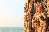 Details Of Sanctuary Of Truth Temple (also Called Wang Boran And Prasat Mai) On The Sunset, Pattaya,