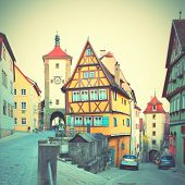 Rothenburg ob der Tauber in Bavaria, Germany. Instagram style filtred