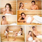 foto of sauna  - Collage of people relaxing in a sauna - JPG
