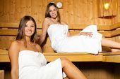 Young women relaxing in a sauna
