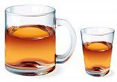 stock photo of mug shot  - Mug of tea and shot of whiskey isolzted on white - JPG