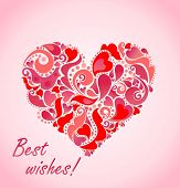 Valentines day card with abstract red heart
