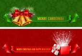 Set of two beautiful horizontal Christmas flyers. Vector illustration.