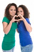 picture of identical twin girls  - Happy young girls making heart with hands - JPG
