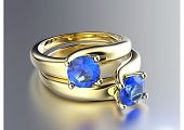 Wedding  Ring with sapphire. Fashion Jewelry background