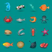 picture of stingray  - Seafood icons set with fish octopus shrimp stingray isolated vector illustration - JPG