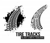 picture of skid  - Tire track vector background in black and white style - JPG