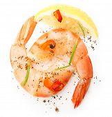 Cooked shrimp, rosemary spice and lemon slice on white background.