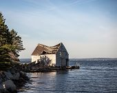 image of shacks  - Old falling down fishing shack in Nova Scotia - JPG