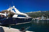 Beautiful Blue Yacht In The Port Of Budva, Montenegro