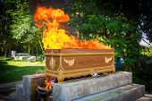 Fire on the  coffin