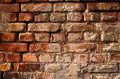 Bare brick wall texture closeup