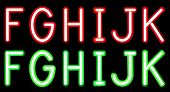 stock photo of neon green  - Vector Red and Green Neon alphabet - JPG