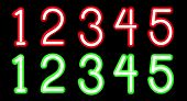 foto of neon green  - Vector Red and Green Neon digits - JPG