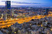 Tel Aviv Cityscape - Traffic on Ayalon Freeway