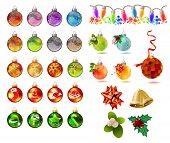 Different Christmas glass balls on white. Helps to decorate Christmas invitations, greeting card, advertisement. Realistic and bright balls and xmas symbols.