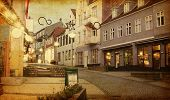 Evening in Sonderborg, Southern Denmark.   Photo in retro style. Added paper texture