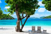 stock photo of caribbean  - Beautiful tropical beach with white sand - JPG