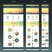 One Page Website Template with Blurred Background - Sunset Pattern Header Design - Desktop, Tablet, Mobile Version