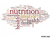 Vector eps concept or conceptual abstract health and nutrition word cloud or wordcloud on white background
