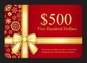 Red Gift Card With Golden Snowflakes And Ribbon