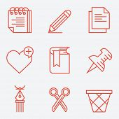 Thin line icons for documents and  web, modern flat design