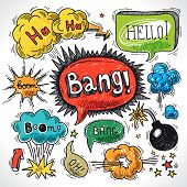 foto of bomb  - Comic speech bubble sketch design element symbol boom splash bomb vector illustration - JPG