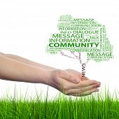 Concept or conceptual tree contact word cloud tagcloud in man or woman hand isolated on white grass background