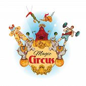 picture of circus clown  - Magic circus colored background with clowns animals acrobat athlete vector illustration - JPG