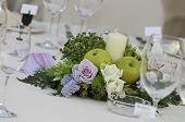 foto of centerpiece  - flower centerpiece with candle for wedding table