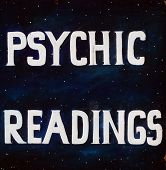 Sign for Psychic readings on Black in public