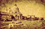 Venice, Italy. Grand Canal and Basilica Santa Maria della Salute. Vintage, retro style.