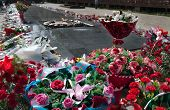 pic of guardsmen  - Flowers to the eternal fire at the memorial in Park of 28 - JPG
