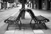 Benches in the street