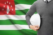 Engineer With Flag On Background  - Abkhazia