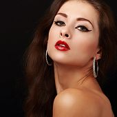 Sexual Beauty Healthy Skin And Bright Makeup Woman Face. Closeup