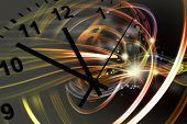 Hands of clock pointing to twelve, space background