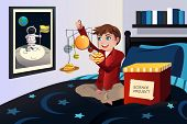 Boy Making A Solar System Science Project
