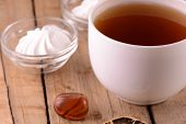 A Cup Of Tea On Wooden Background