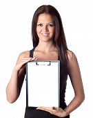 stock photo of bagpack  - Happy student girl with blank clipboard isolated on a over white background - JPG